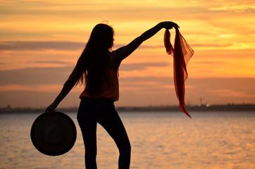 Girl, sunset