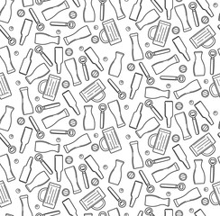 Vector beer theme seamless pattern. Outline utensils for pub. Texture alcohol drinks