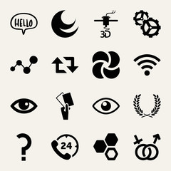 Set of 16 symbols filled icons
