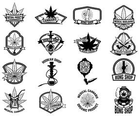 Set of vintage emblems with medical marijuana. Cannabis leaves. Design element for logo, label, emblem, sign, poster, t shirt.