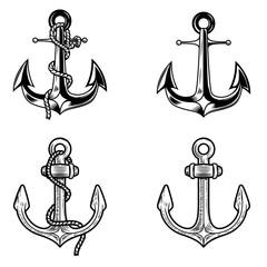 Set of anchors on white background. Design elements for logo, label, emblem, sign.