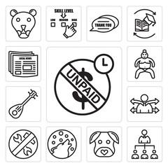 Set of unpaid, mlm, minimalist dog, shadow wolf, low maintenance, versatility, lute, sumo, local news icons