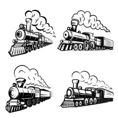 Set of retro locomotives on white background. Design elements for logo, label, emblem, sign.