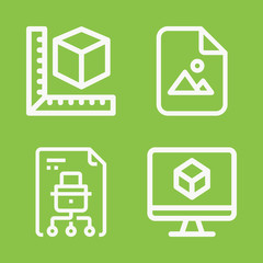 Files icon set - outline collection of 4 vector icons