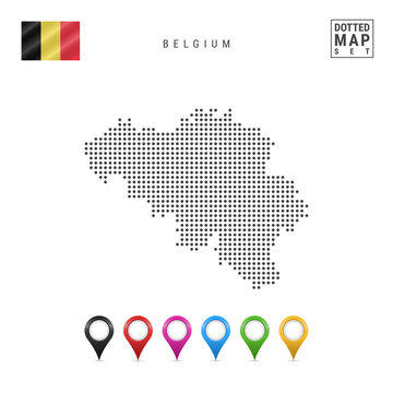 Vector Dotted Map of Belgium. Simple Silhouette of Belgium. National Flag of Belgium. Set of Multicolored Map Markers