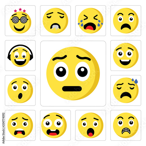 Set of Sad emoji, Shocked Surprised Ugly Nervous Happy Music