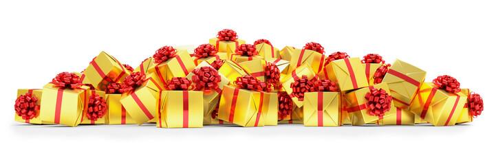 Geschenke in gold mit roten Schleifen - Weihnachtsgeschenke - Geburtstagsgeschenke