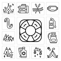 Set of Life saver, Tent, Cable car cabin, Sun cream, Hiking, Flask, Forest, Oxygen tank, Scarf icons