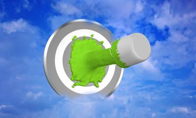 Farbe ins Leben! grüner Farbstrahl auf Zielscheibe im Wolkenhimmel. 3d render
