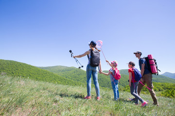 family in a hiking