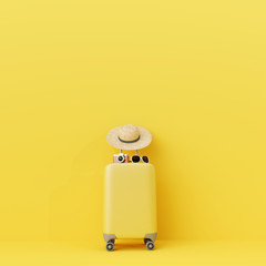 Wall Mural - Yellow suitcase with traveler accessories on yellow background. travel concept.minimal style.