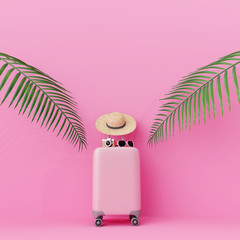 Wall Mural - Pink suitcase with traveler accessories and coconut leaves on pastel pink background. travel concept.minimal style.