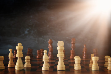 Image of chess board game. Business, competition, strategy, leadership and success concept.