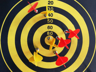 red dart In a dartboard