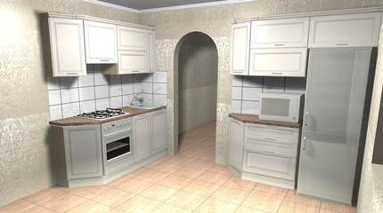 kitchen classic 3D rendering