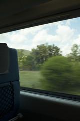 Train window countryside