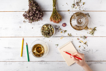 Medicinal herbs with recipe on wooden table. Flat lay