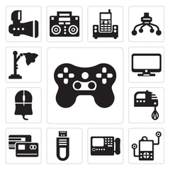 Set of Video games, Music player, Printed, Internet connection, Master card, Kitchen pack, Mouse clicker, Televisions, Desk lamp icons