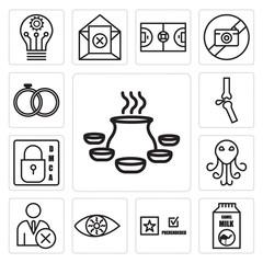 Set of biryani, camel milk, prerende, bloodshot eye, unfollow, cthulhu, dmca, ortho, marital status icons