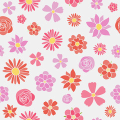 Pastel coloured background with flowers - seamless pattern. Mother's Day, Woman's Day and Valentine's Day. Vector.