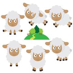 Cute sheep vector cartoon illustration