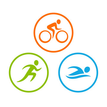 Triathlon symbols set