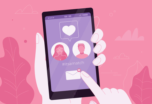 Online dating couple in love in the app on the phone. It is a match
