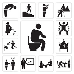 Set of Man sitting on the Toilet, Boss catching a worker sleeping, Children see saw, Teacher teaching with stick, threating, Business meeting, Player Jamming, celebrating icons