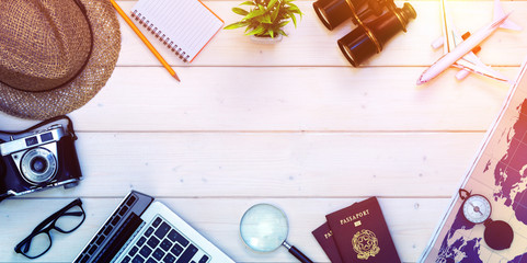 Travel Planning - Preparation For Holidays Trip - Passports And Objects On Desktop