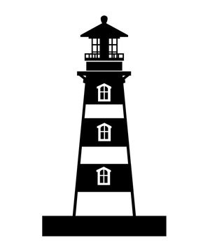 Black silhouette. Lighthouse building. Flat design style. Vector illustration isolated on white background