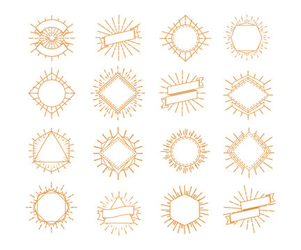 Vector sunburst frame set gold style isolated on white background for logo, shop, market emblem, tag, badge, decoration. Star, firework explosion, rays of light collection. 10 eps