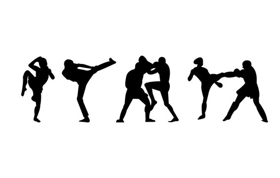 kickboxing, mma and muay thai kicks and punches silhouettes