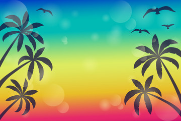 Colurful banner with palms and copyspace. Vector.