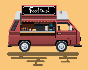 Street fast food machine in a flat style. Fast food truck city car. Fast-food car. Street food truck. Street food car. Food truck street food van. Vector illustration Eps10 file