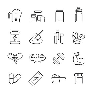 Sport supplements: thin vector icon set, black and white kit