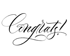 Congrats lettering. Handwritten modern calligraphy, brush painted letters. Inspirational text, vector illustration. Template for banner, poster, flyer, greeting card, web design or photo overlay