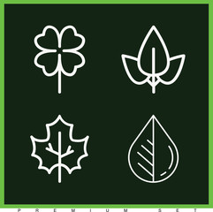 Set of 4 leaves outline icons