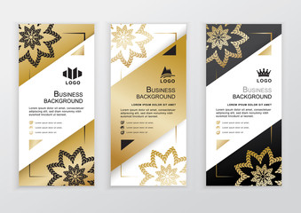 Vertical business gold black white banners. Ornamental flower elements on white background
