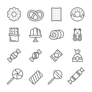 Sweets: thin monochrome icon set, black and white kit