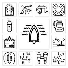 Set of Boat, Camping, Binoculars, Map, Carabiner, Forest, Cabin, Flask, Oxygen tank icons