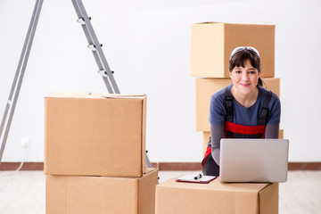 Woman accepting relocation order from internet