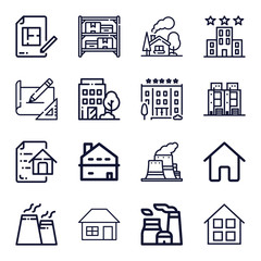 Set of 16 buildings outline icons