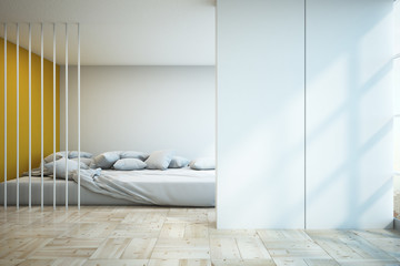 Contempopary bedroom with copyspace