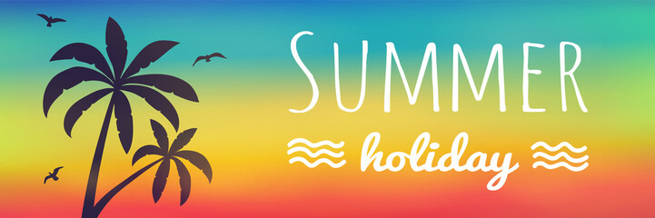 Enjoy summer- multicoloured banner with tropical palms. Vector.