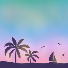 Summer sunset - multicoloured background with palms. Vector.