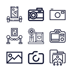 Set of 9 picture outline icons