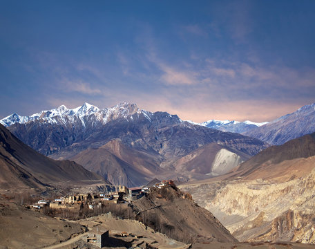 Jarkot village in Mustang district, Annapurna conservation area, Nepal Himalayas