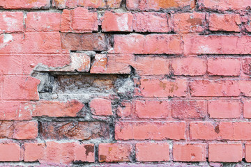 red brick wall texture grunge background with vignetted corners, may use to interior design.