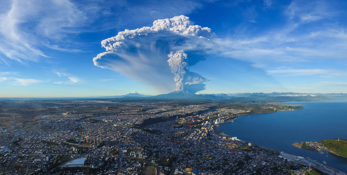 Volcano Eruption. The eruption of the Calbuco volcano in the Chilean Patagonia at daytime. April 2015