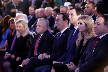 Israeli Prime Minister Benjamin Netanyahu's wife Sara Netanyahu, U.S. Deputy Secretary of State John Sullivan, U.S. Treasury Secretary Steven Mnuchin and Senior White House Advisers Jared Kushner and Ivanka Trump during a reception in Jerusalem